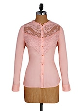 Lace Inset Long Sleeves Pink Shirt - Amari West