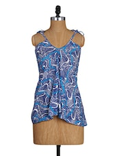 Printed Strappy Flared Top - Amari West