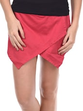 Pink Overlap Front Panel Shorts - Amari West