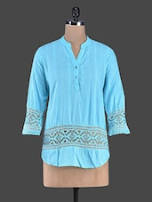 Solid Blue Lace Detailed Cotton Top - Bhama Couture