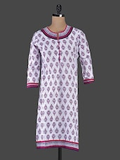 Block Printed Quarter Sleeve Cotton Kurta - Inara Robes