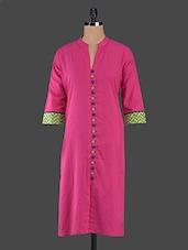 Mandarin Collar Front Buttons Cotton Kurta - Inara Robes