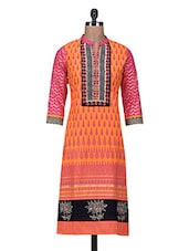 Red Embroidered & Printed Cotton Kurta - By
