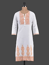 Printed Quarter Sleeve Cotton Kurta - Inara Robes
