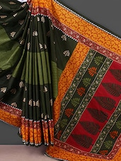 Green Printed Printed Cotton Saree - Kamal Sarees
