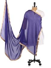 Blue Chiffon Dupatta With Golden Borders - Dupatta Bazaar