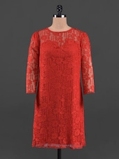 Round Neck Red Lace Dress - Queens