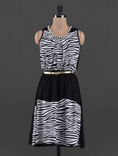 Zebra Print Pearl Neck Rayon Dress - Queens