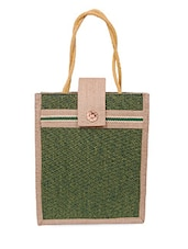 Velcro Flap Zipper Closure Green Jute Bag - Womaniya