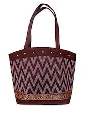 Chevron Pattern Brown Jute Tote Bag - Womaniya
