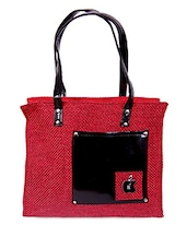 Zipper Closure Patch Pocket Red Jute Bag - Womaniya