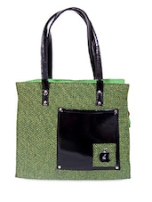 Zipper Closure Patch Pocket Green Jute Bag - Womaniya