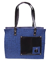 Patch Pocket Zipper Closure Blue Jute Bag - Womaniya