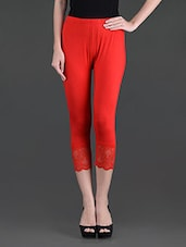 Solid Red Viscose Lycra 3/4 Legging - LGC