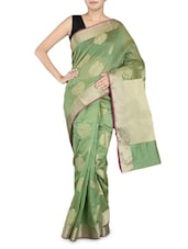 Green Cotton Silk Banarasi Saree - By