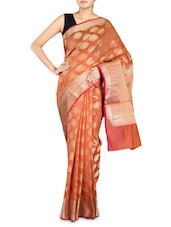 Orange Cotton Silk Banarasi Saree - By