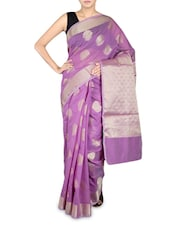 Purple Cotton Silk Banarasi Saree - By