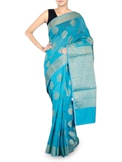 Turquoise Cotton Silk Banarasi Saree - By