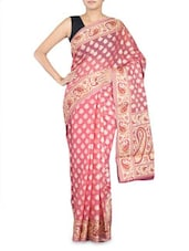 Pink Paisley Cotton Silk Banarasi Saree - By