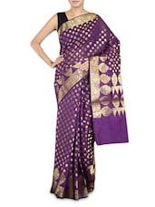 Purple Art Silk Banarasi Saree - By