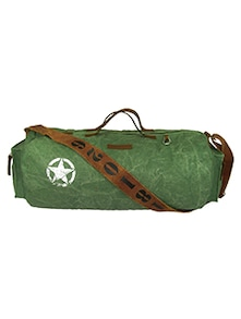 green canvas dufflebag