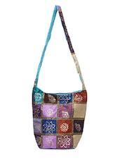 Block Print Raw Silk Bag - Bidesi Jaipur
