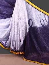 Yellow Border Printed Bhagalpuri Khadi Silk Saree - FABIONA