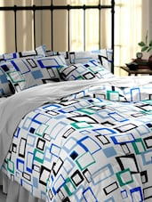Dreamscape 140TC 100% Cotton White Geometric Single bedsheet set -  online shopping for bed sheet sets