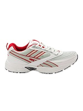 White Lace Up Mesh Sports Shoes - Prozone - 1097018