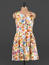 Multicolored Floral Fit & Flare Dress - Femenino