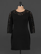 Black Lace & Polyester Knit Bodycon Dress - Femenino