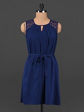 Navy-blue Lace Yoke Polyester Dress - Femenino
