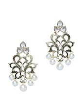 Golden Pearl Embellished Earrings - Rich Lady