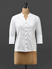 White Mandarin Collar Cotton Top - Trend Arrest