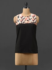 Printed Yoke Sleeveless Poly-crepe Top - Trend Arrest