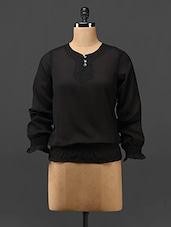 Black Long Sleeves Sheer Georgette Top - Trend Arrest