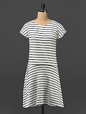 Striped Cotton Knit Short Sleeves Dress - By