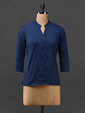 Navy-blue Cotton Blend Shirt - Trend Arrest