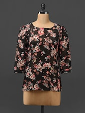 Floral Print Sheer Georgette Top - Trend Arrest