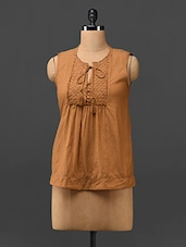 Rust Orange Sleeveless Cotton Top - Trend Arrest