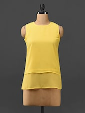 Yellow Layered Sleeveless Georgette Top - Trend Arrest
