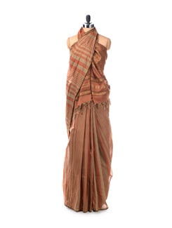 Rust Striped South Cotton Saree With Deep Rust Blouse Piece - Saboo