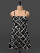Plaid Print Camisole Neck Crepe Tunic - MOTIF