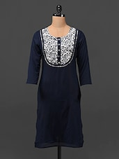 Round Neck Quarter Sleeve Cotton Kurta - MOTIF