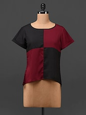 Colour Block Round Neck Short Sleeve Crepe Top - MOTIF