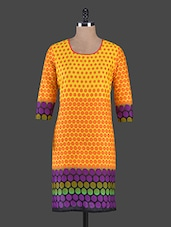 Yellow Polka Dots Printed Cotton Kurta - Swanky