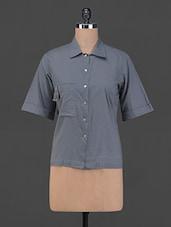 Dark Grey Front Buttoned Cotton Shirt - BIAS