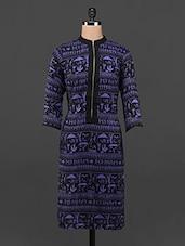 Blue & Black Warli Printed Front Zip Kurta - DeDe'S