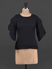 Frill Sleeves Round Neck Georgette Crop Top - OSHEA
