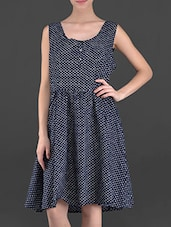 Back Tie Polka Dot Printed Cotton Dress - OSHEA